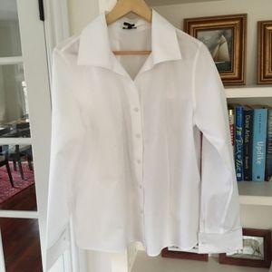 NWOT TALBOTS classic white button shirt blouse 12